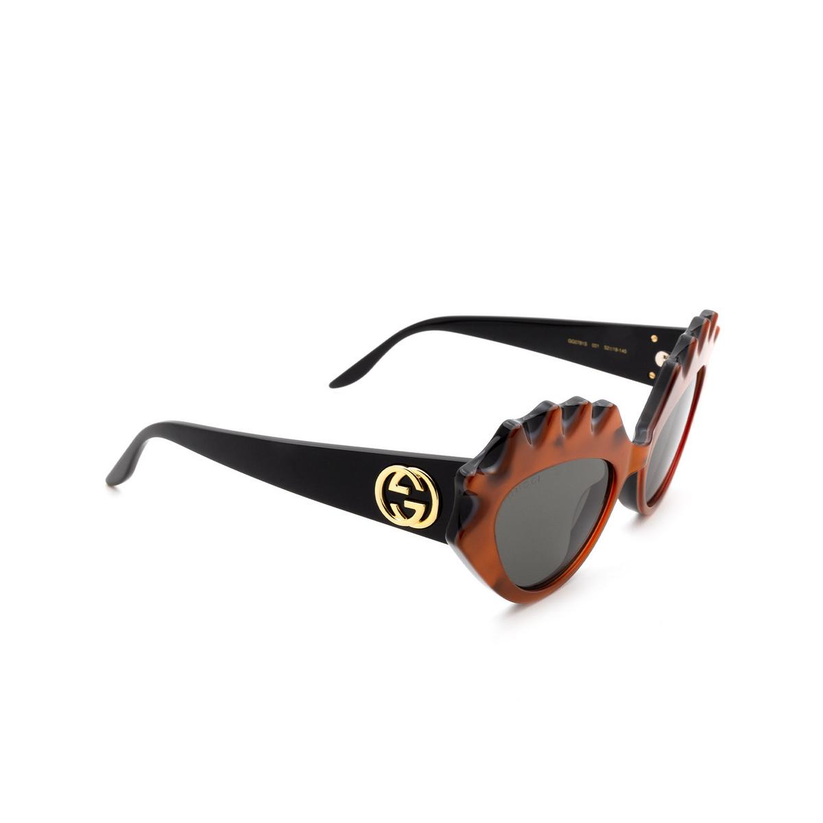 Gucci® Cat-eye Sunglasses: GG0781S color Orange 001 - 2/3.
