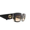 Gucci® Rectangle Sunglasses: GG0782S color Black 001 - product thumbnail 3/3.
