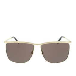 Gucci® Square Sunglasses: GG0821S color Gold 001.