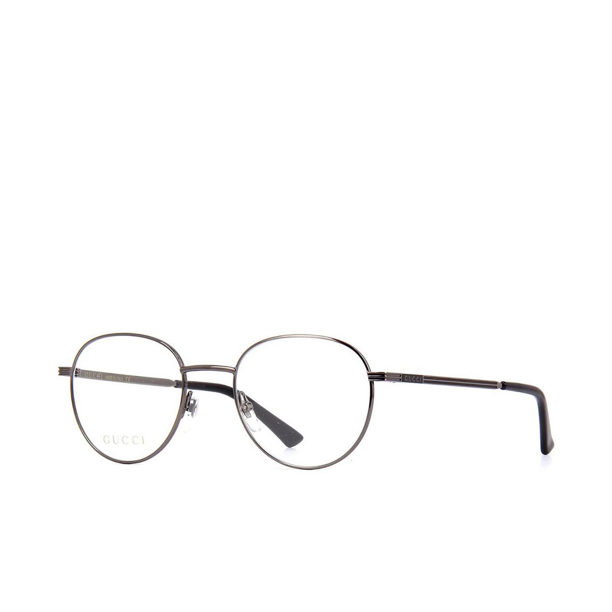 Gucci® Round Eyeglasses: GG0835O color Ruthenium 005 - three-quarters view.