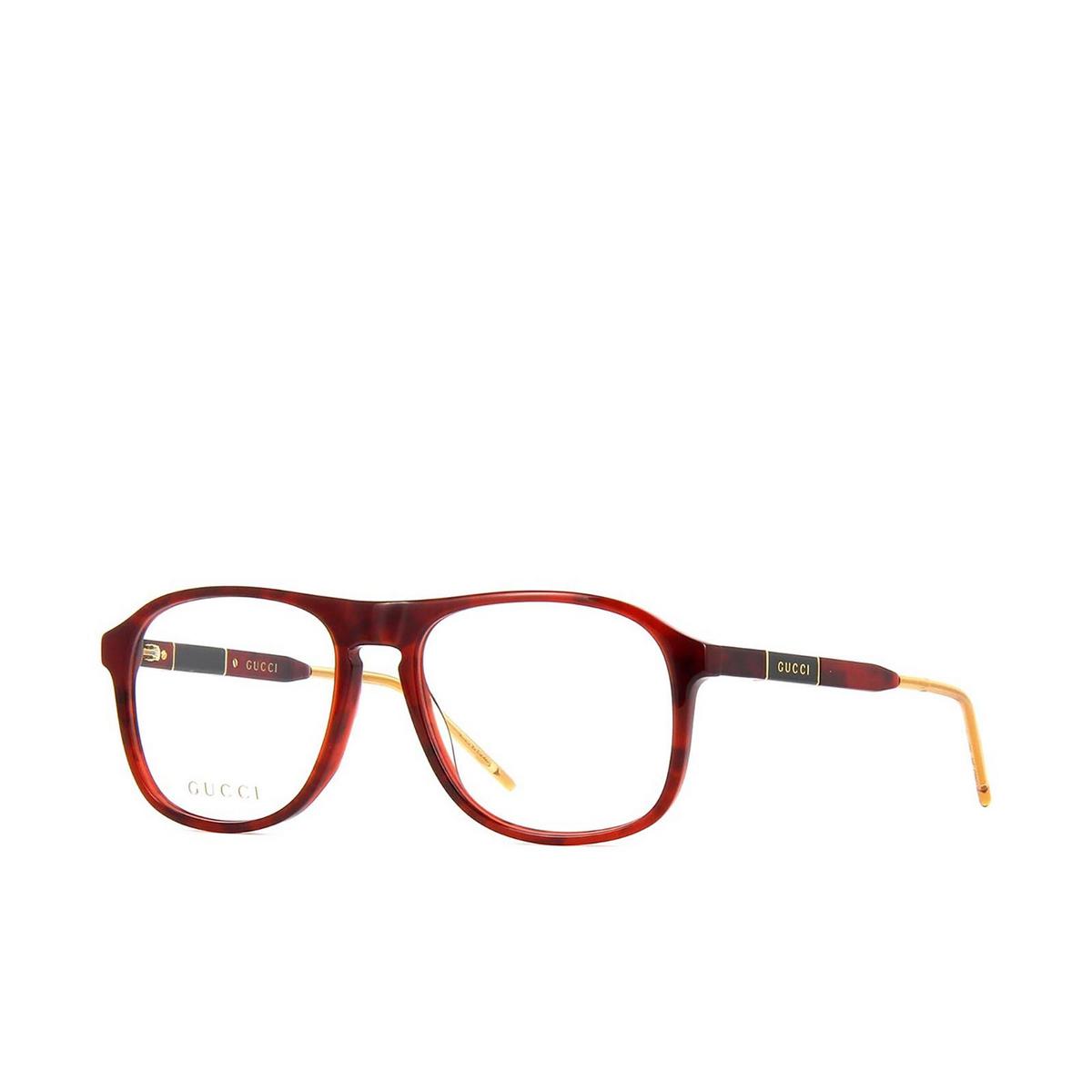 Gucci® Aviator Eyeglasses: GG0844O color Havana 002 - three-quarters view.