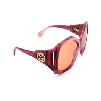 Gucci® Square Sunglasses: GG0875S color Burgundy 003.