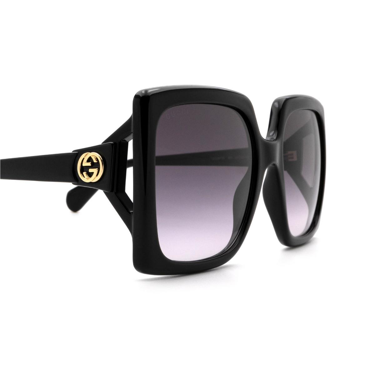 Gucci® Rectangle Sunglasses: GG0876S color Shiny Black 001 - 3/3.