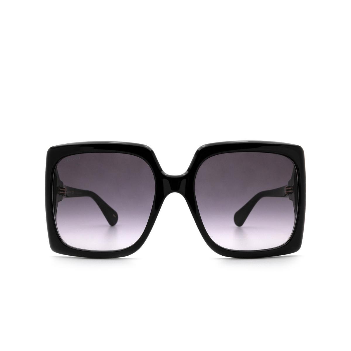 Gucci® Rectangle Sunglasses: GG0876S color Shiny Black 001 - 1/3.