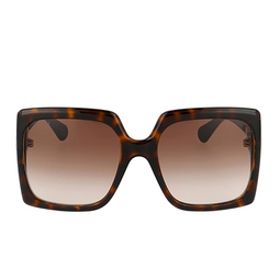 Gucci® Rectangle Sunglasses: GG0876S color Havana 002.