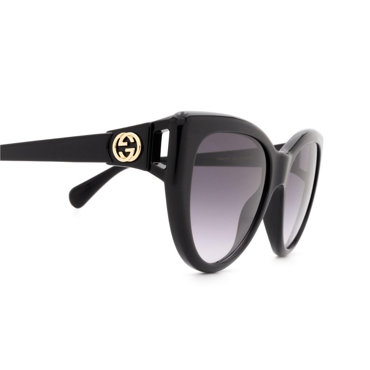 Gucci® Cat-eye Sunglasses: GG0877S color Black 001 - 3/3.