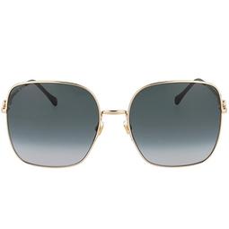 Gucci® Square Sunglasses: GG0879S color Gold 001.