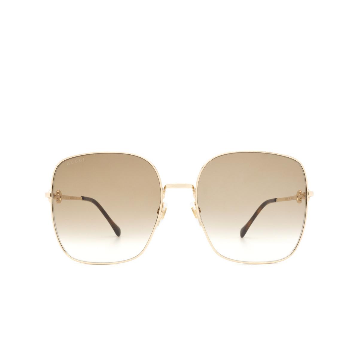 Gucci® Square Sunglasses: GG0879S color Gold 002 - 1/3.