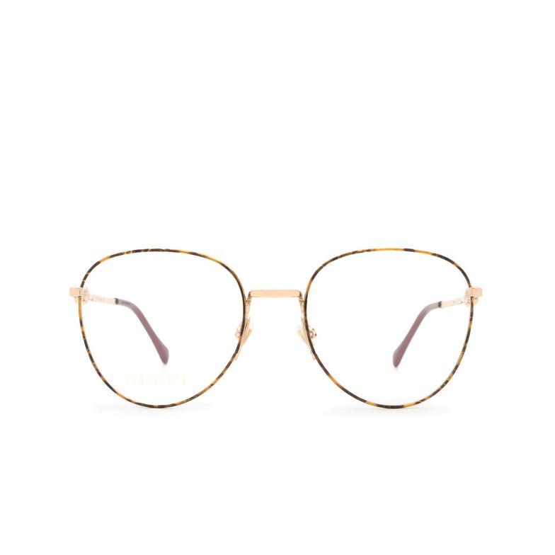 Gucci® Round Eyeglasses: GG0880O color Gold / Havana 002.