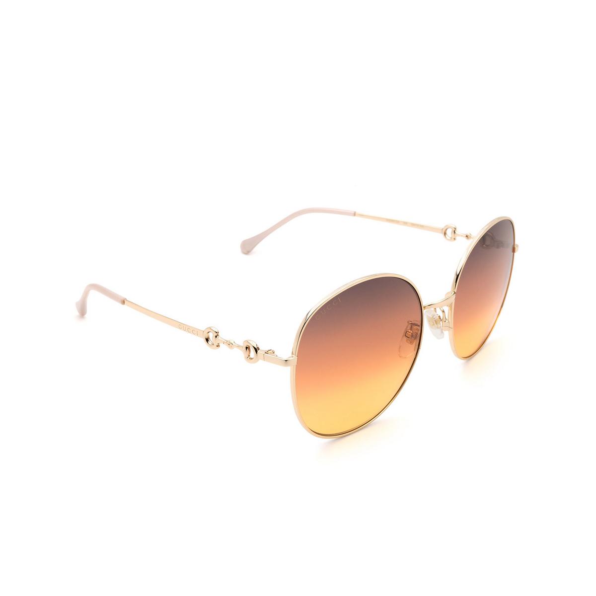 Gucci® Round Sunglasses: GG0881SA color Gold 004 - 2/3.