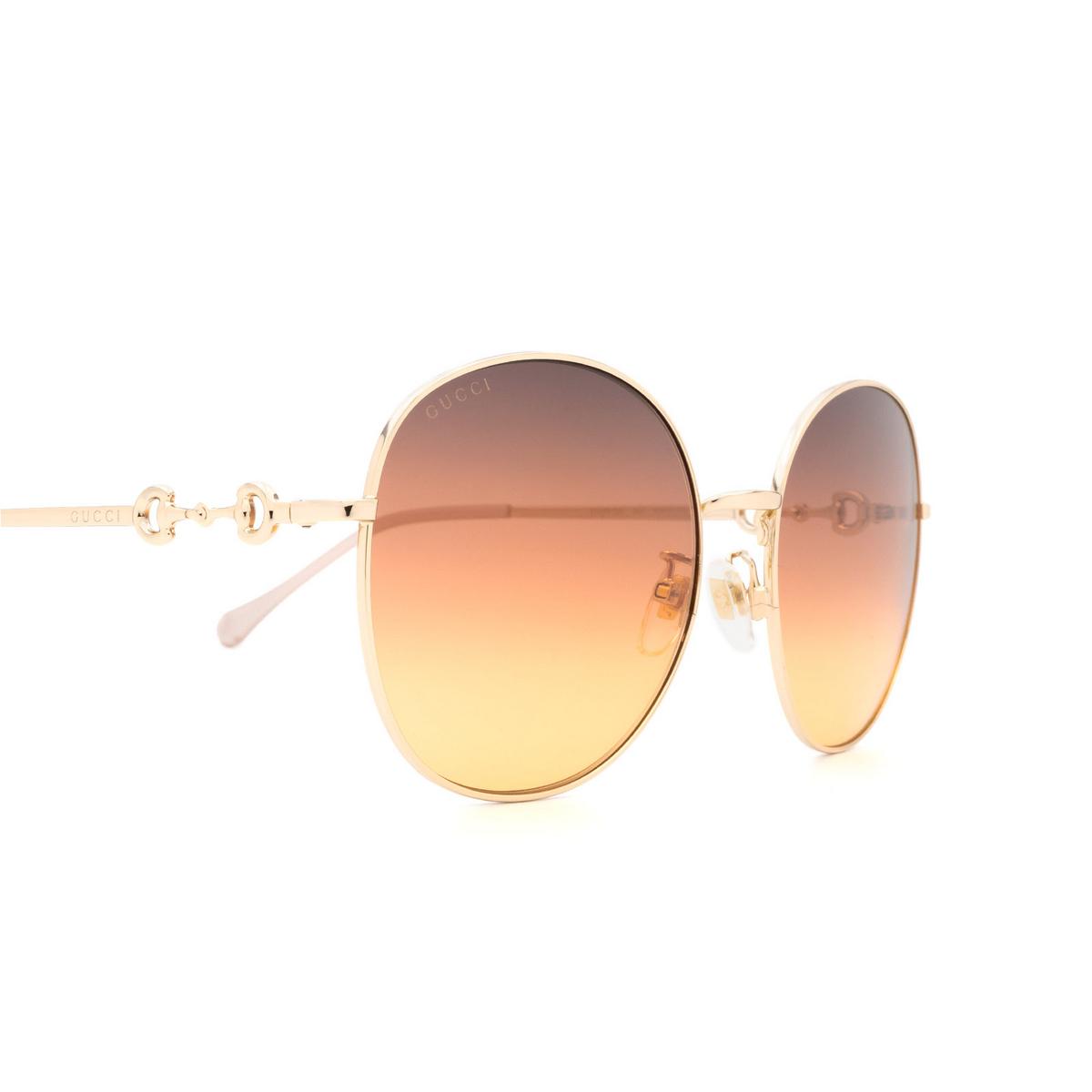 Gucci® Round Sunglasses: GG0881SA color Gold 004 - 3/3.