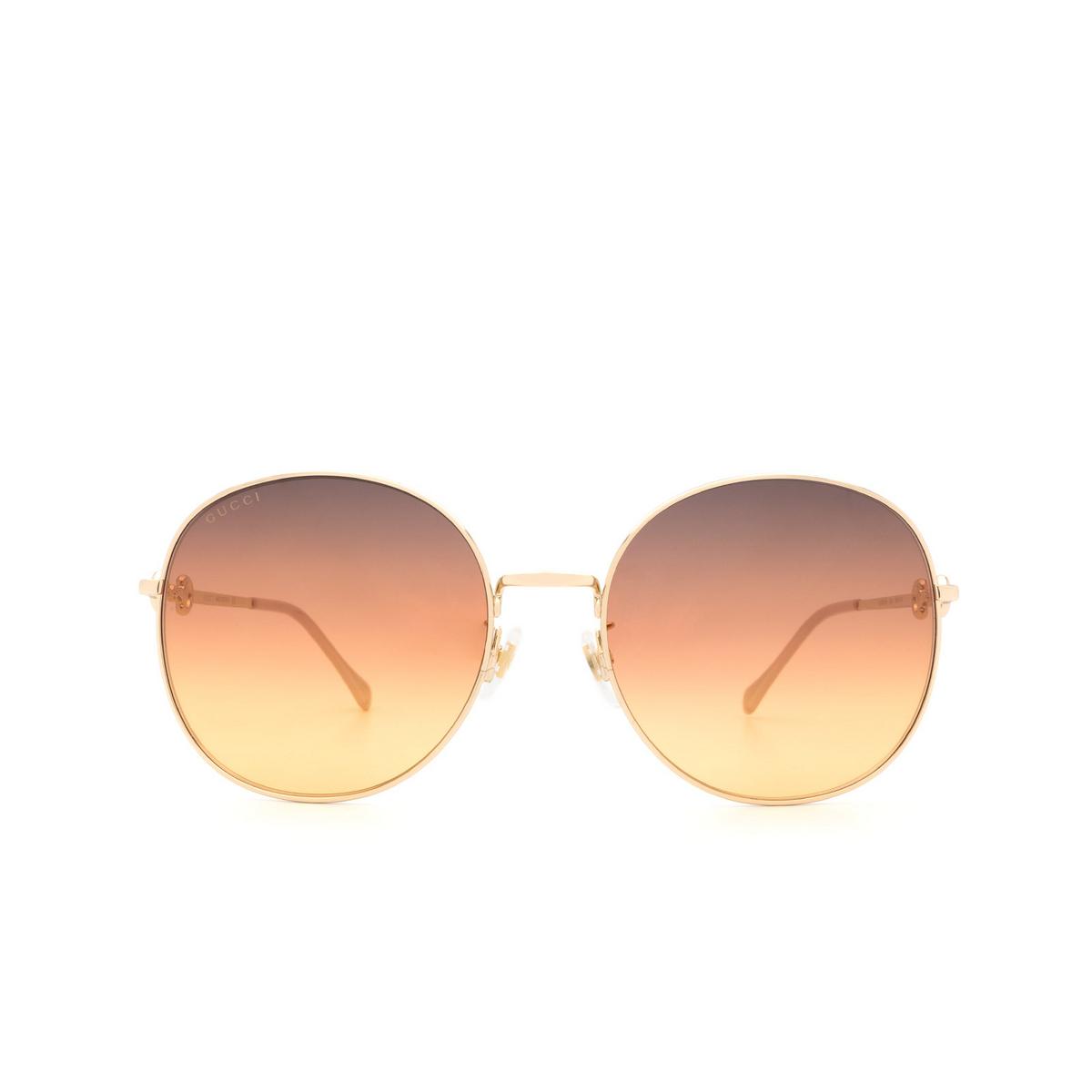 Gucci® Round Sunglasses: GG0881SA color Gold 004 - 1/3.