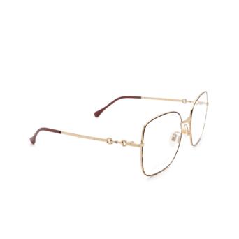 Gucci® Square Eyeglasses: GG0883OA color Havana & Gold 002.