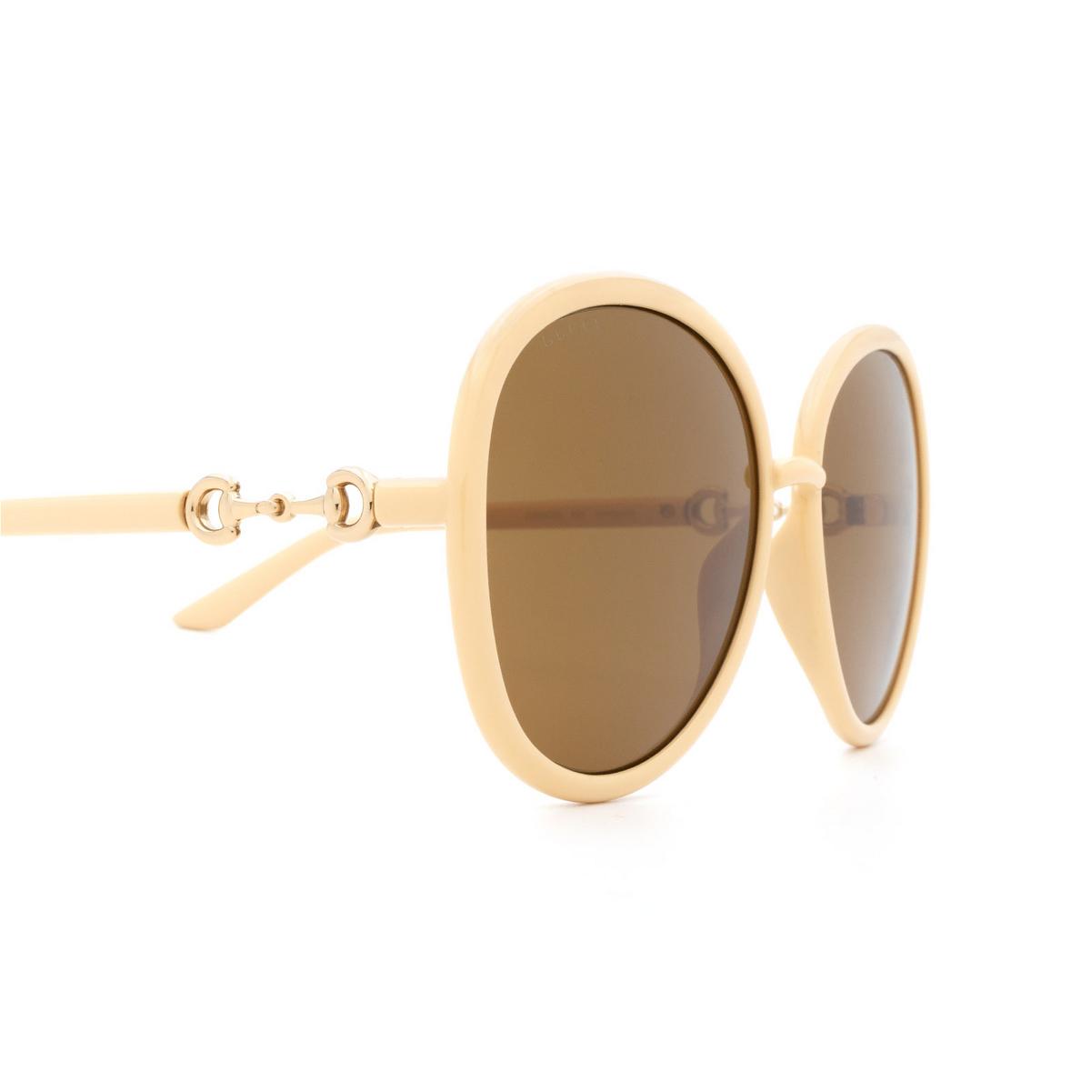 Gucci® Round Sunglasses: GG0889S color Beige 004 - 3/3.
