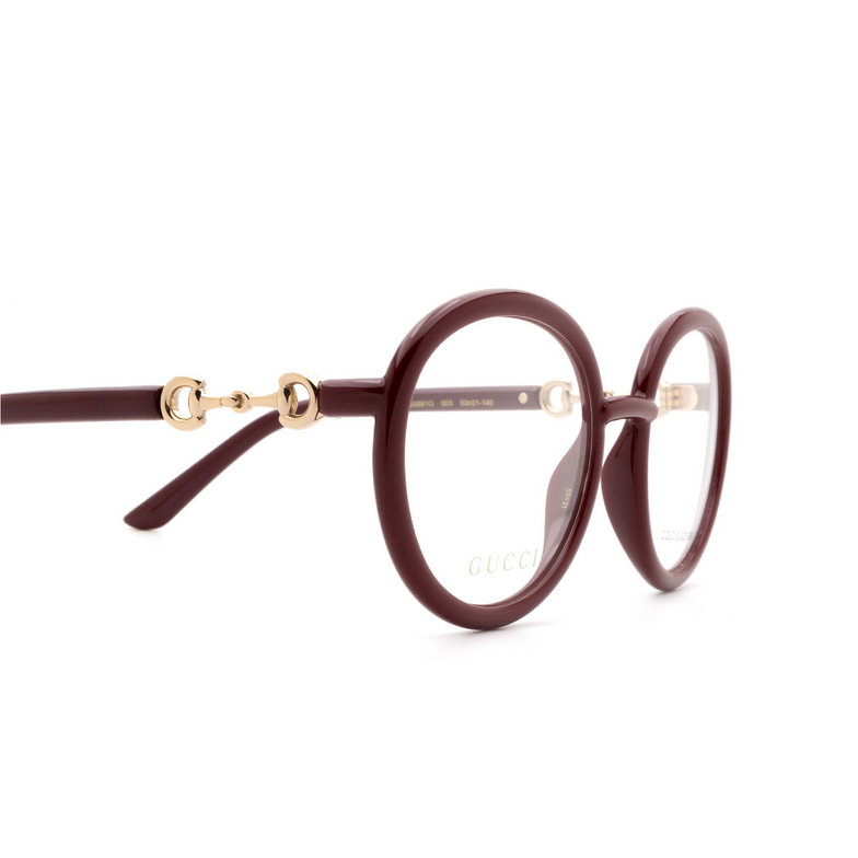 Gucci® Round Eyeglasses: GG0891O color Burgundy 003.