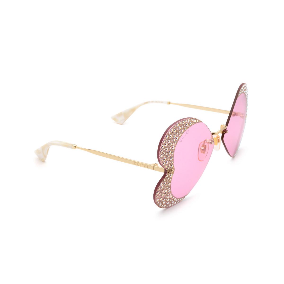 Gucci® Irregular Sunglasses: GG0897S color Gold 001.