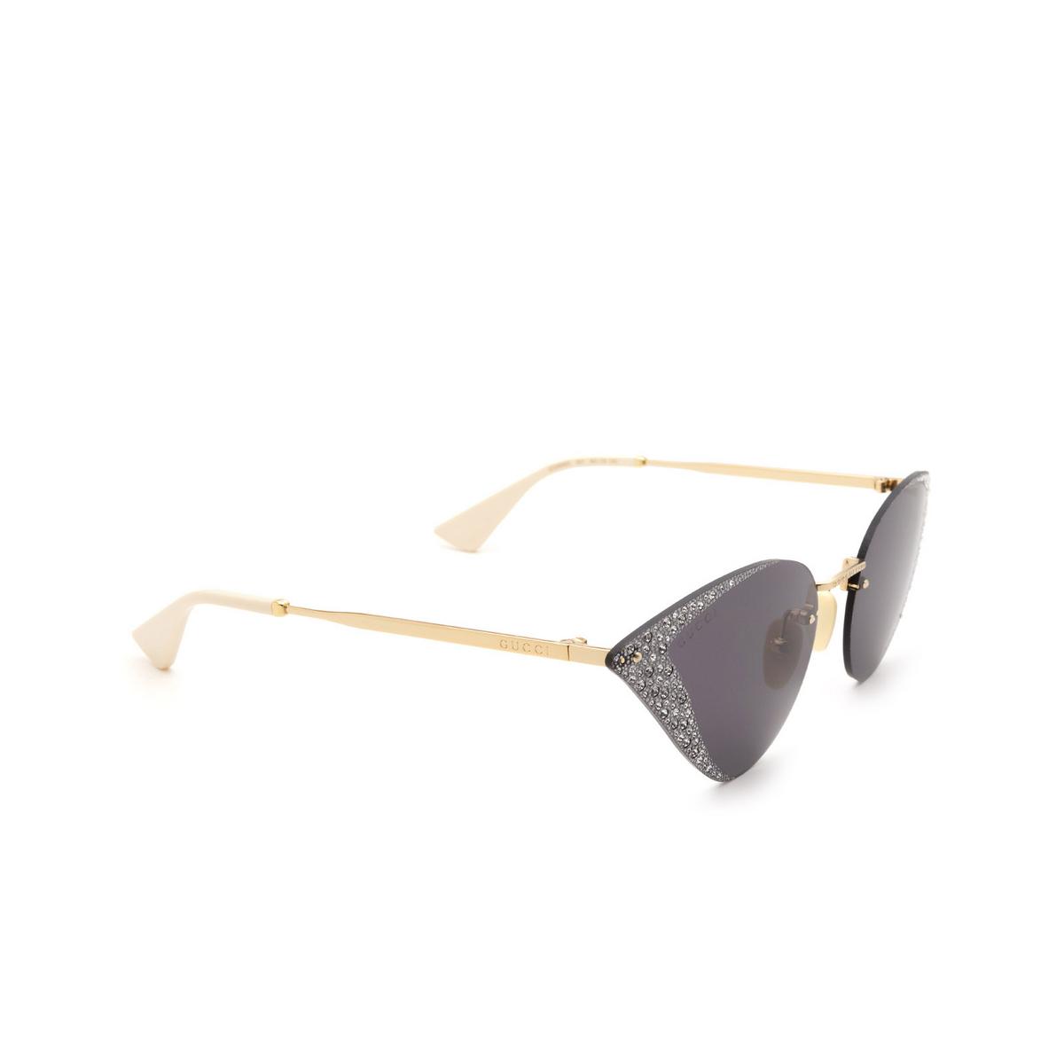 Gucci® Cat-eye Sunglasses: GG0898S color Gold 001.