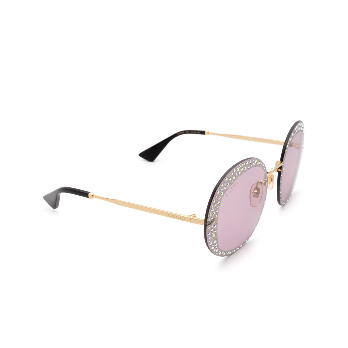 Gucci® Round Sunglasses: GG0899S color Gold 001.