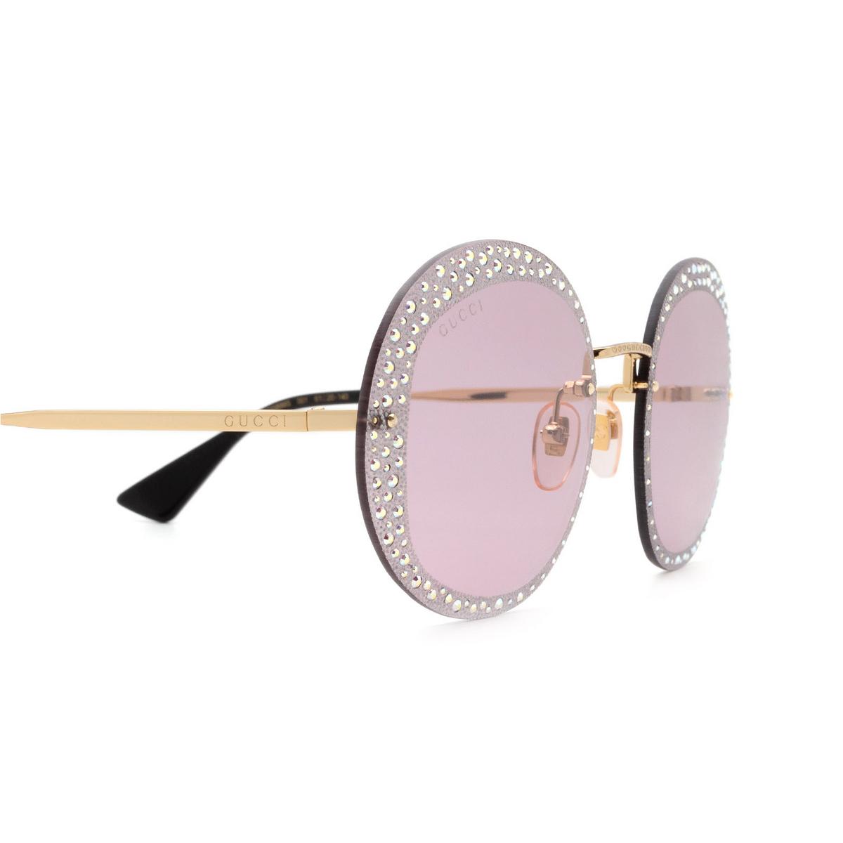 Gucci® Round Sunglasses: GG0899S color Gold 001 - 3/3.