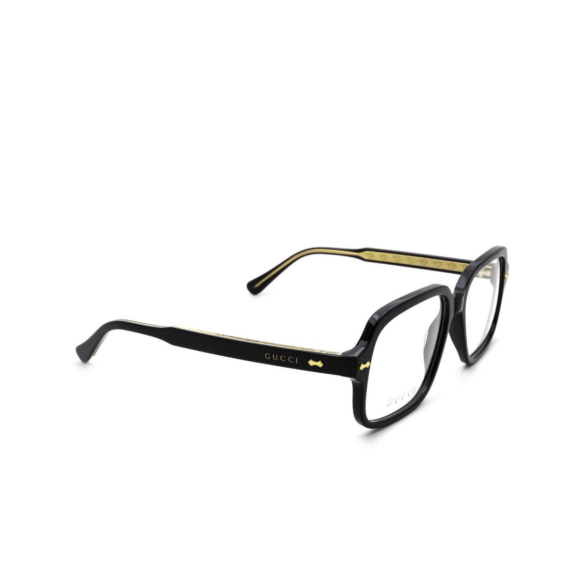 Gucci® Square Eyeglasses: GG0913O color Black 001 - three-quarters view.
