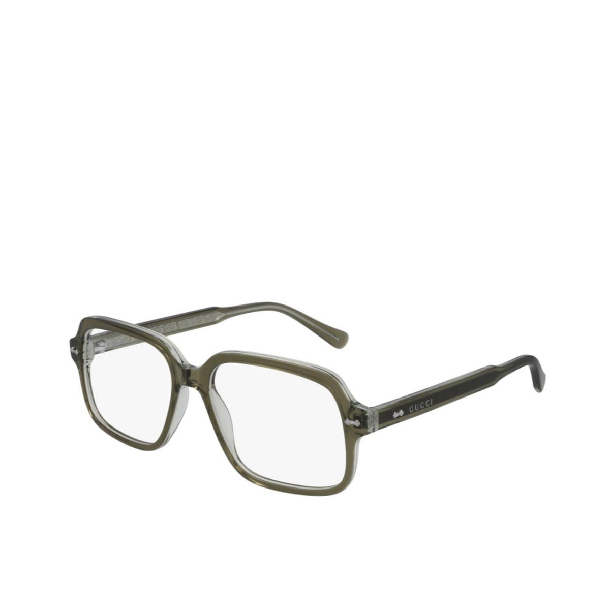 Gucci® Square Eyeglasses: GG0913O color Transparent Green 002 - three-quarters view.