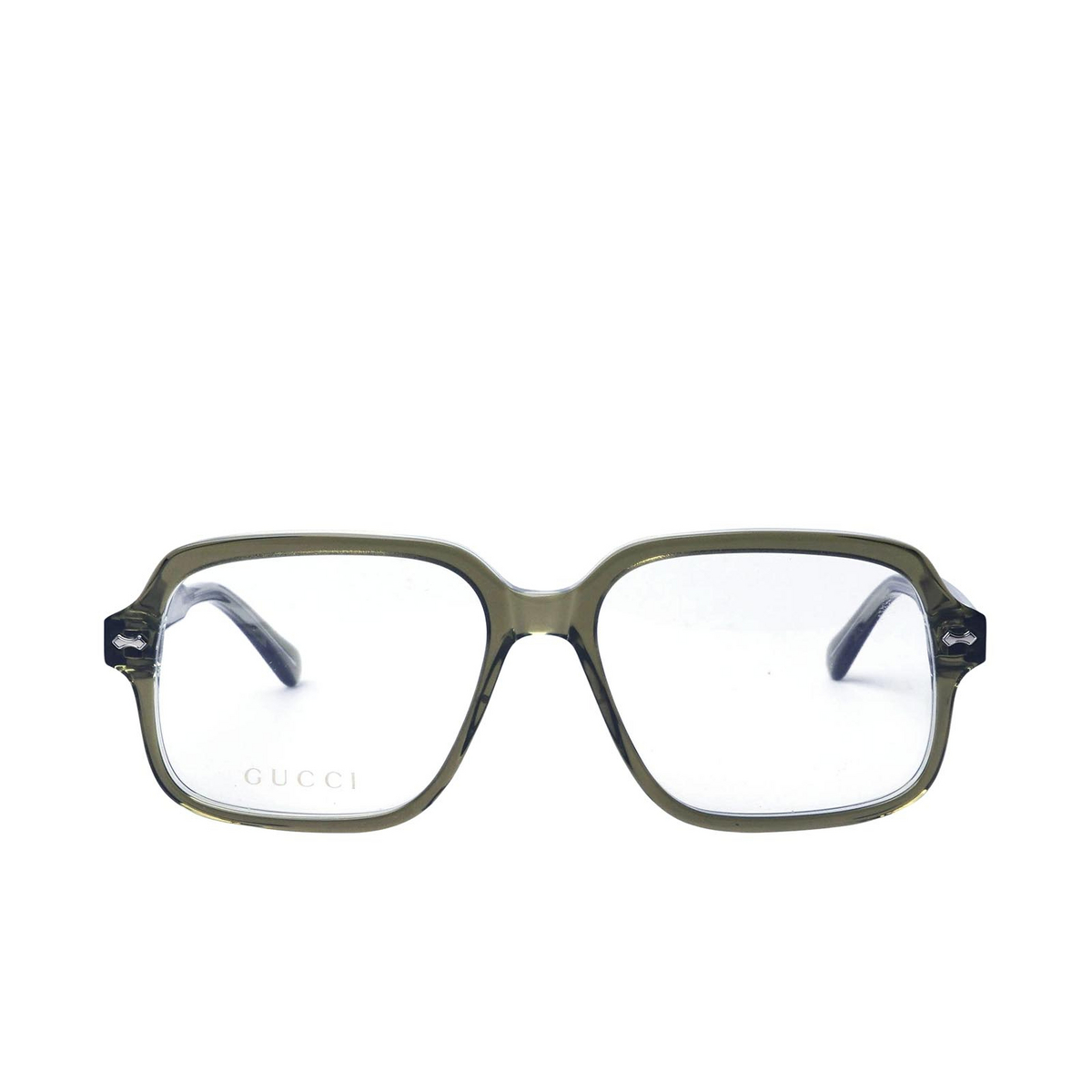 Gucci® Square Eyeglasses: GG0913O color Transparent Green 002 - front view.