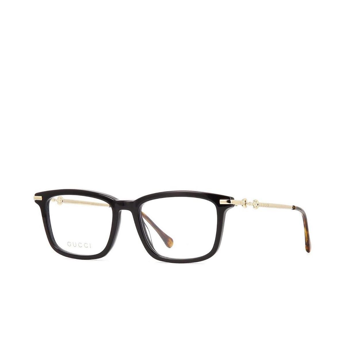 Gucci® Rectangle Eyeglasses: GG0920O color Black 004 - three-quarters view.