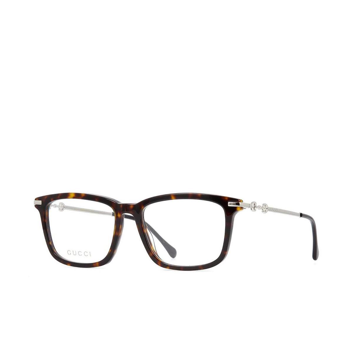 Gucci® Rectangle Eyeglasses: GG0920O color Dark Havana 005 - three-quarters view.