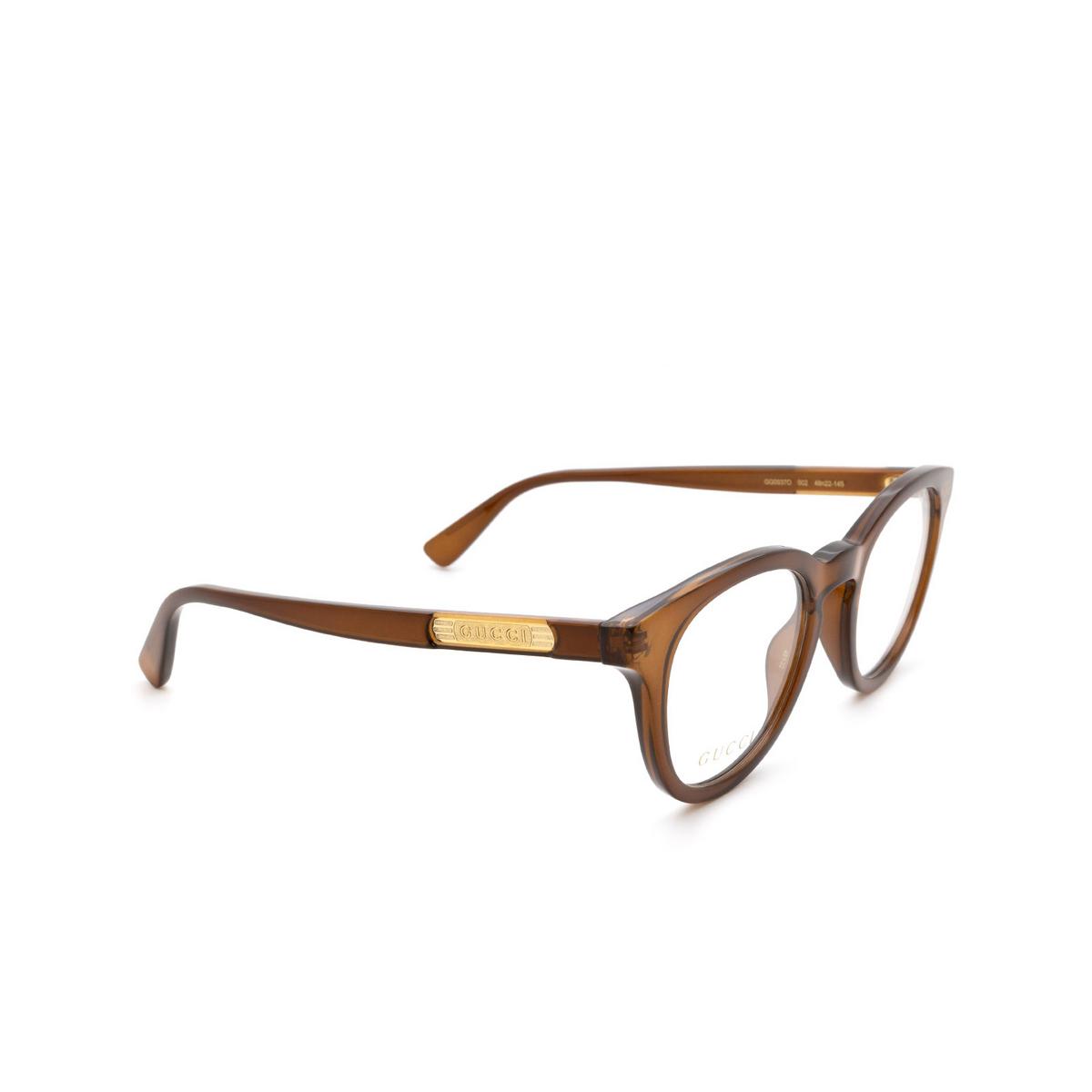 Gucci® Square Eyeglasses: GG0937O color Brown 002.