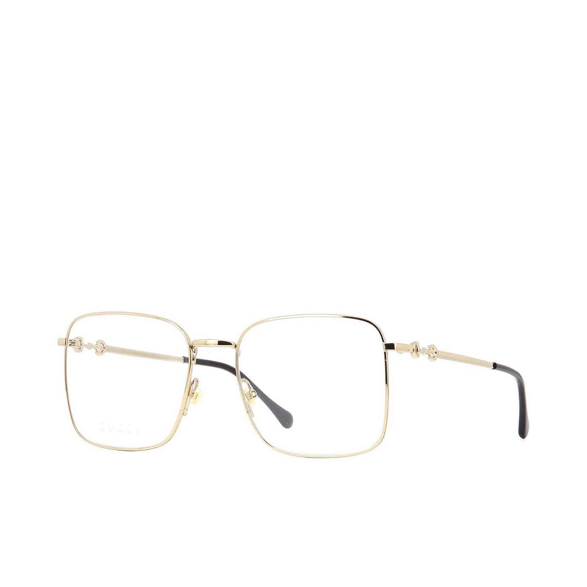Gucci® Square Eyeglasses: GG0951O color Gold 002 - three-quarters view.
