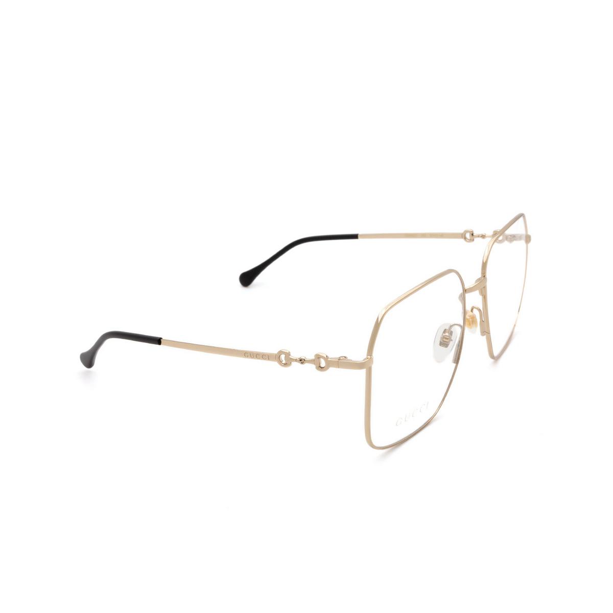 Gucci® Square Eyeglasses: GG0952O color Gold 002 - three-quarters view.