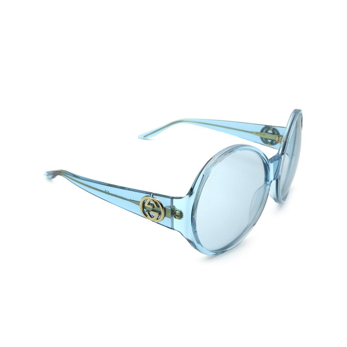Gucci® Round Sunglasses: GG0954S color Light-blue 001.