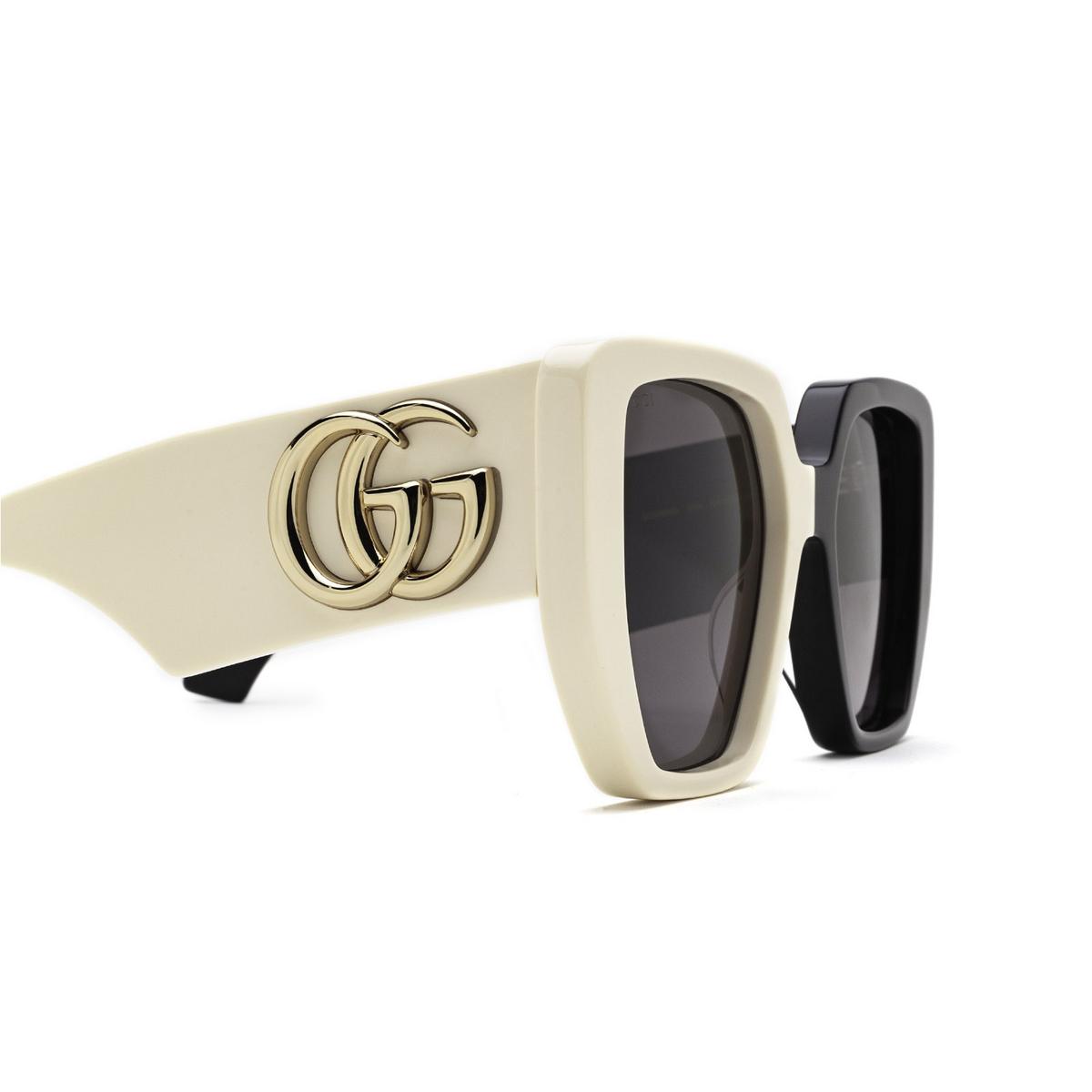 Gucci® Irregular Sunglasses: GG0956S color Black & Ivory 005 - 3/3.