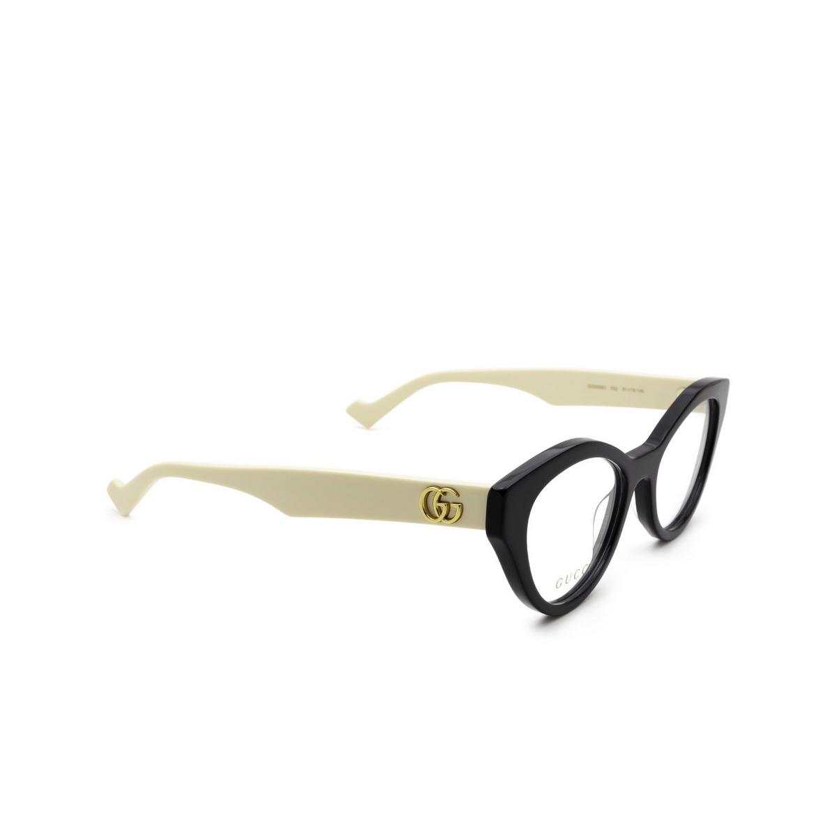 Gucci® Cat-eye Eyeglasses: GG0959O color Black & Ivory 002 - three-quarters view.
