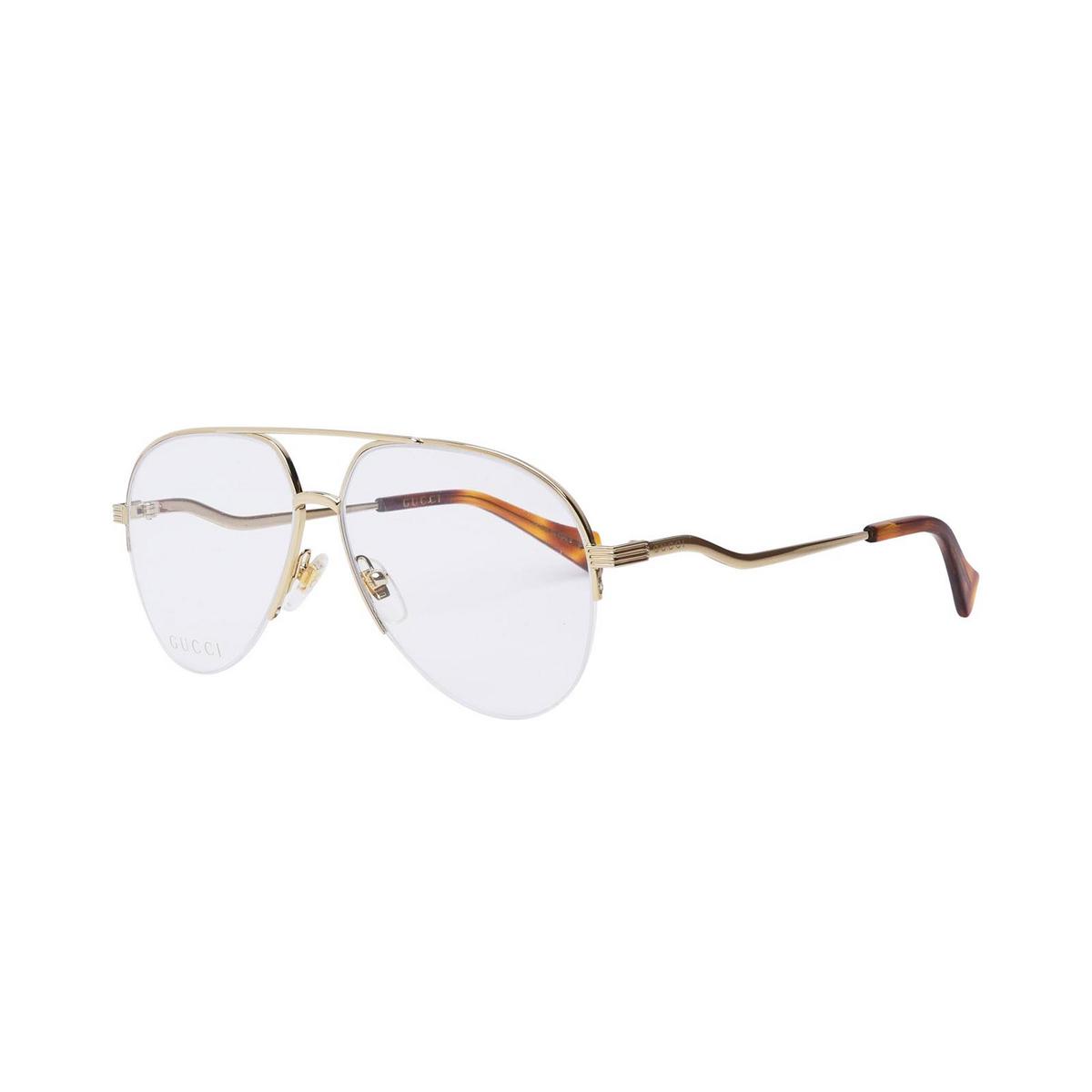 Gucci® Aviator Eyeglasses: GG0971O color Gold 001 - three-quarters view.