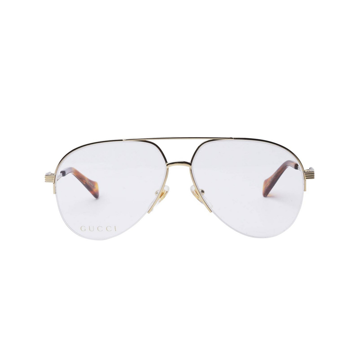 Gucci® Aviator Eyeglasses: GG0971O color Gold 001 - front view.