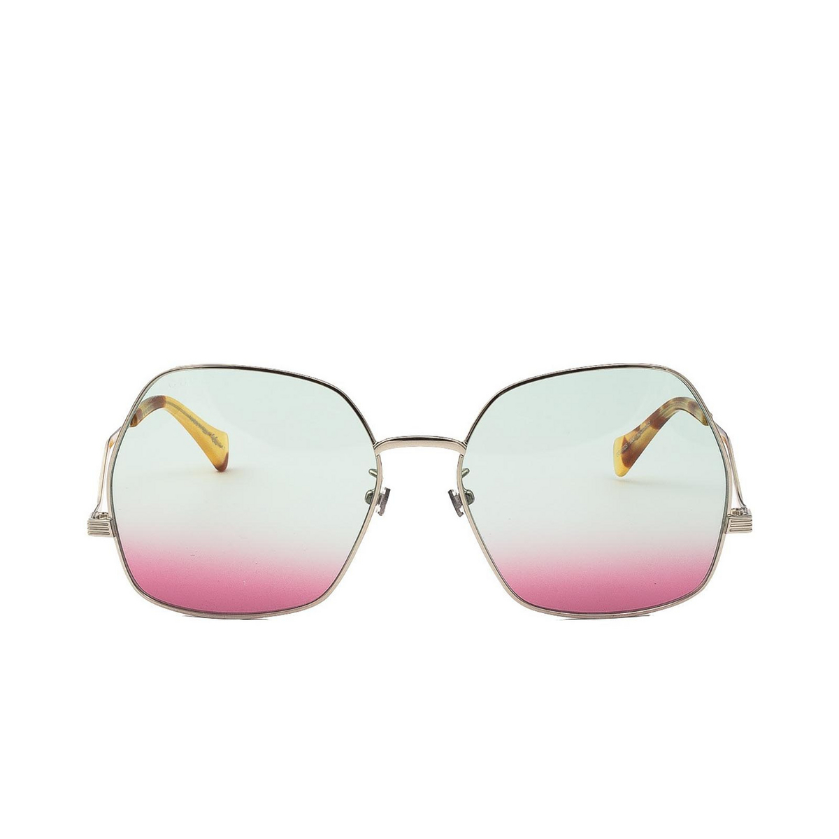 Gucci® Irregular Sunglasses: GG0972S color Silver 004 - front view.