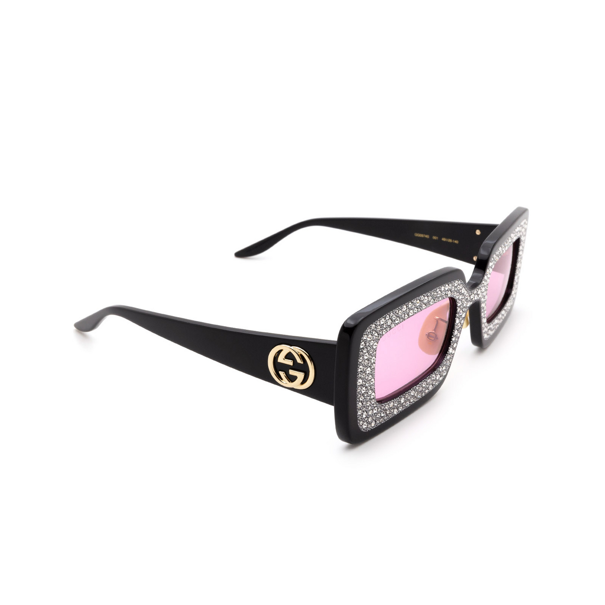 Gucci® Rectangle Sunglasses: GG0974S color Black 001.