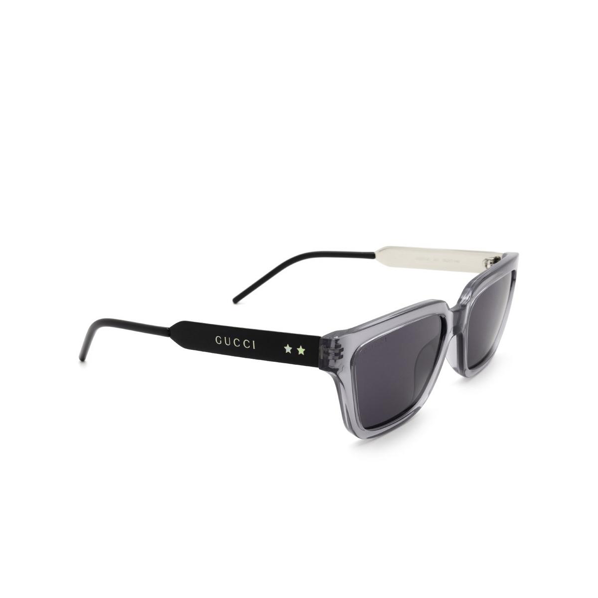 Gucci® Square Sunglasses: GG0975S color Transparent Grey 001.
