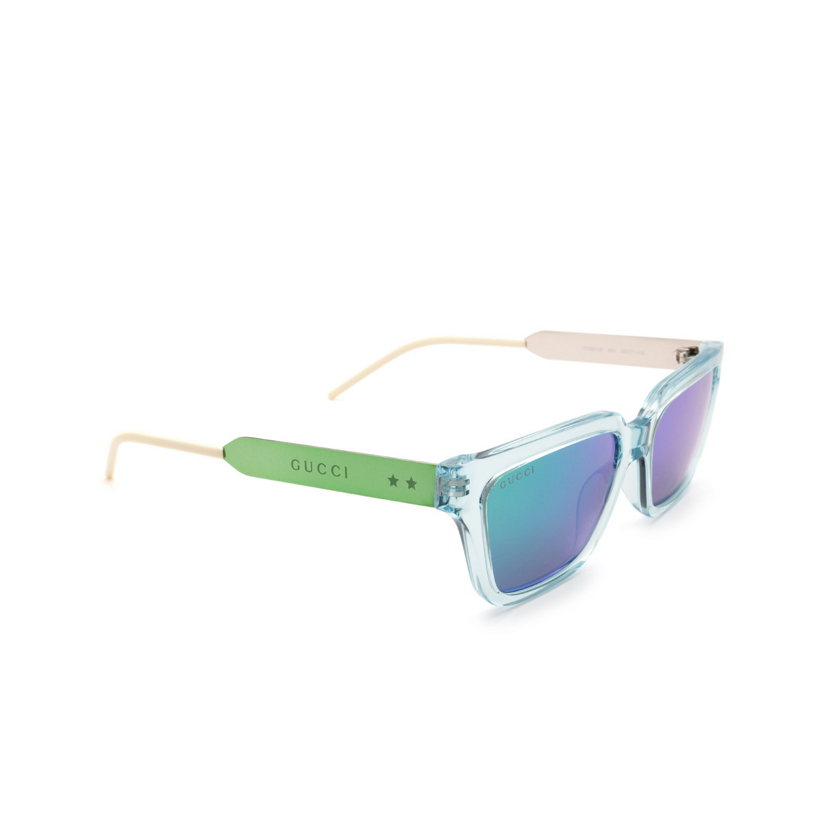 Gucci® Rectangle Sunglasses: GG0975S color Light Blue 003.