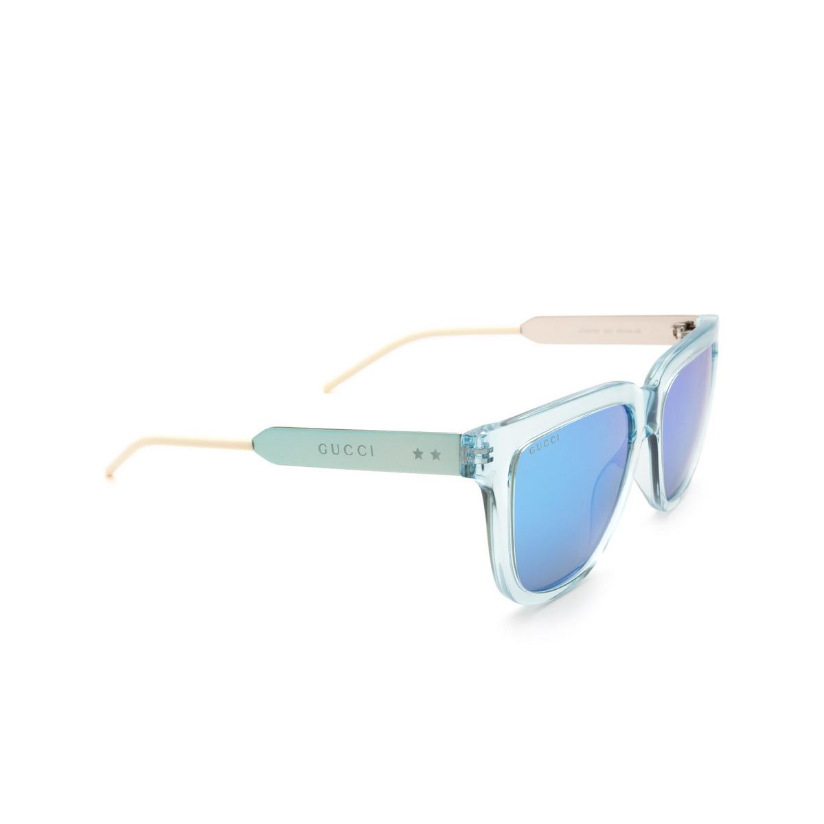 Gucci® Square Sunglasses: GG0976S color Light Blue 003.