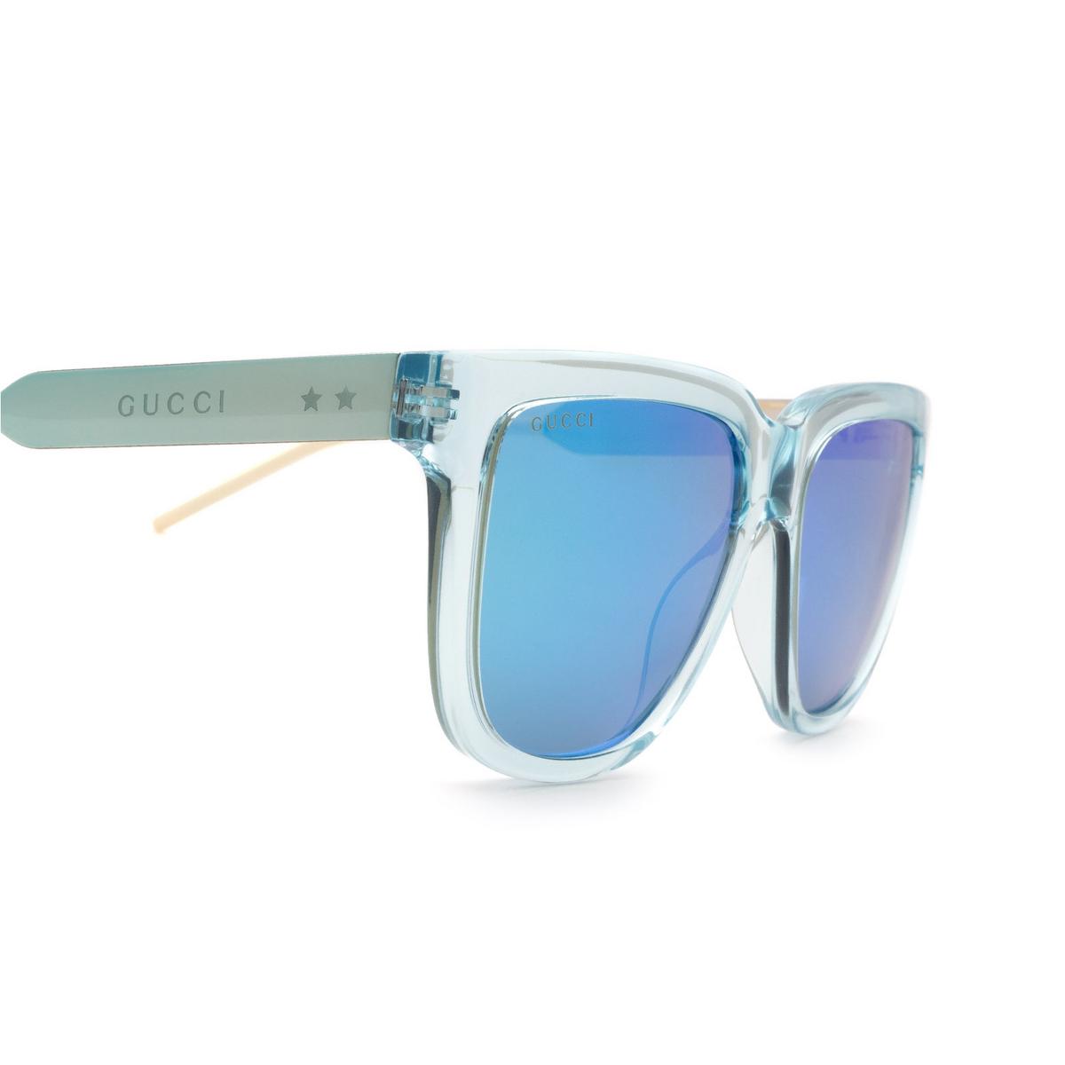 Gucci® Square Sunglasses: GG0976S color Light Blue 003 - 3/3.