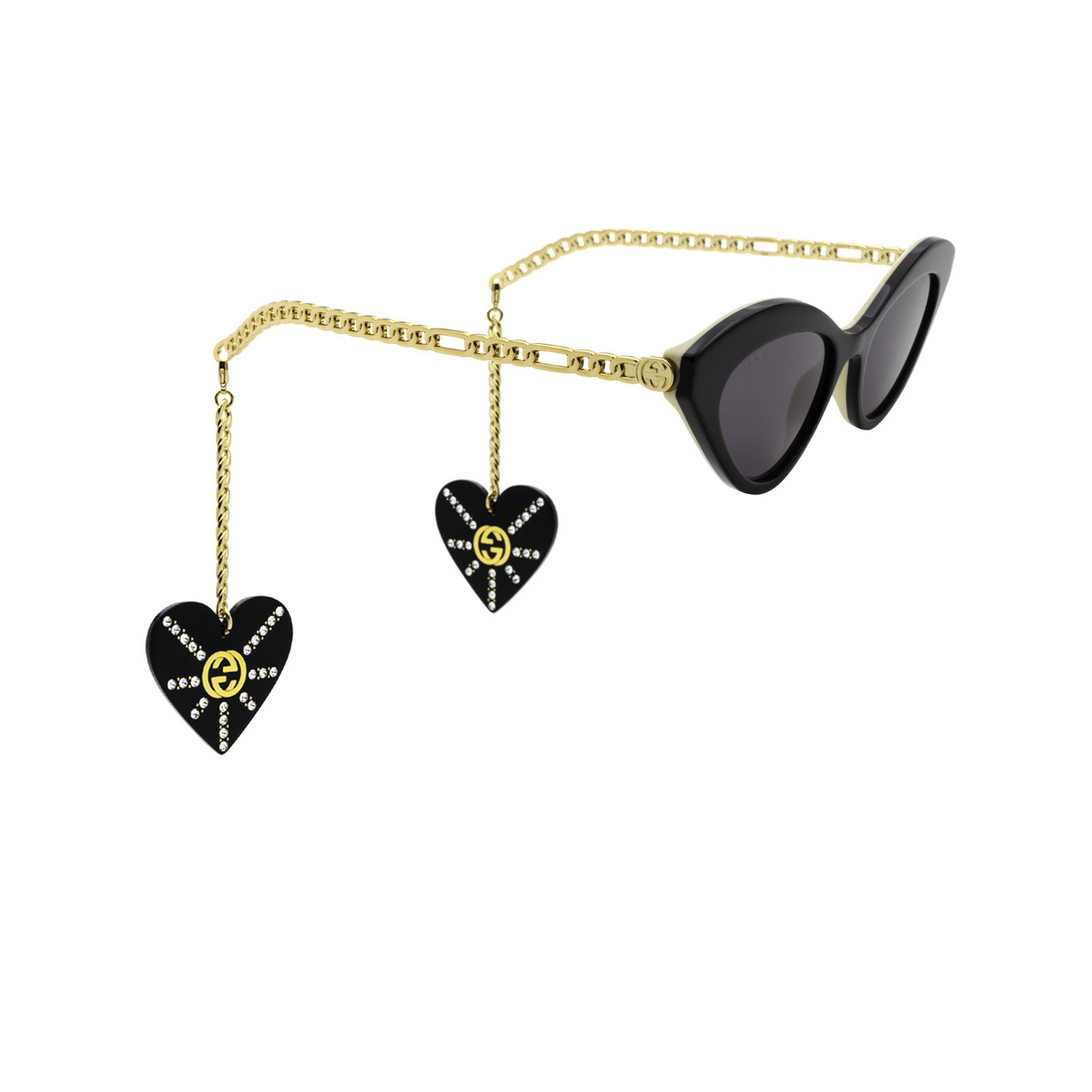 Gucci® Cat-eye Sunglasses: GG0978S color Black 004 - three-quarters view.