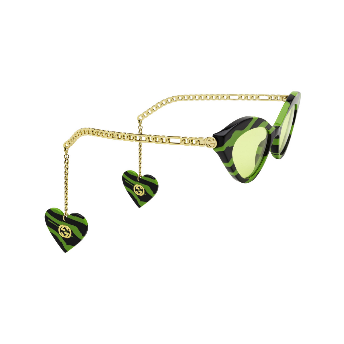 Gucci® Cat-eye Sunglasses: GG0978S color Green & Black 006 - three-quarters view.