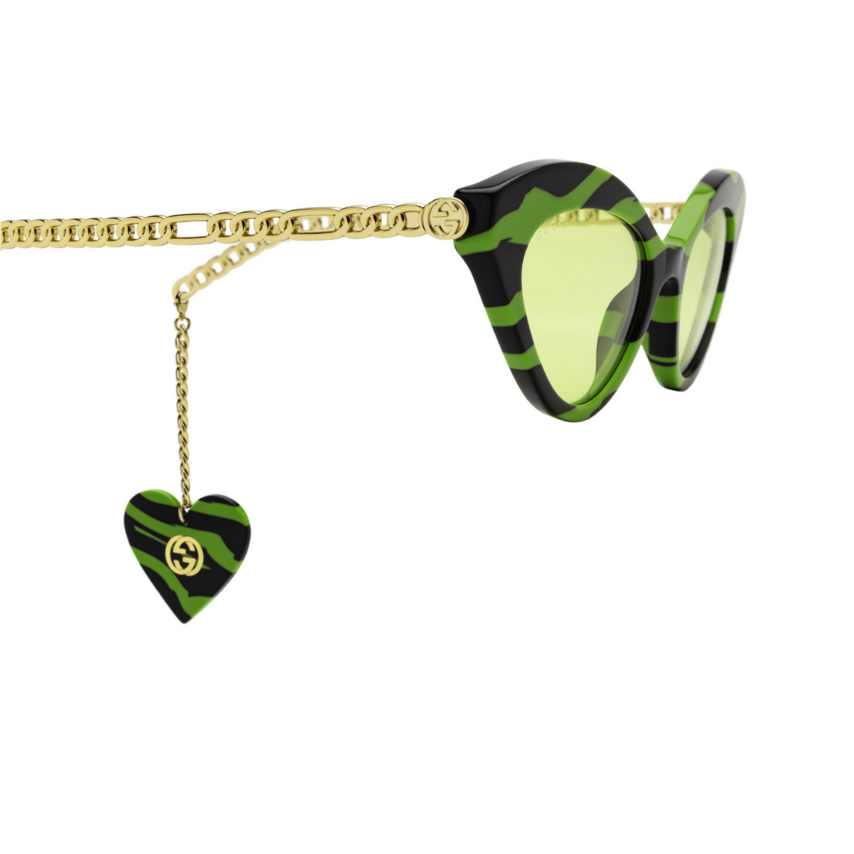 Gucci® Cat-eye Sunglasses: GG0978S color Green & Black 006 - 3/4.