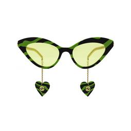 Gucci® Cat-eye Sunglasses: GG0978S color Green & Black 006.