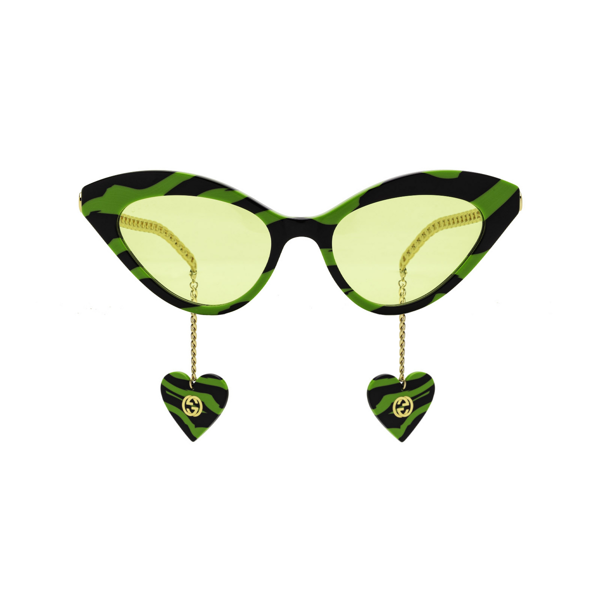 Gucci® Cat-eye Sunglasses: GG0978S color Green & Black 006 - front view.