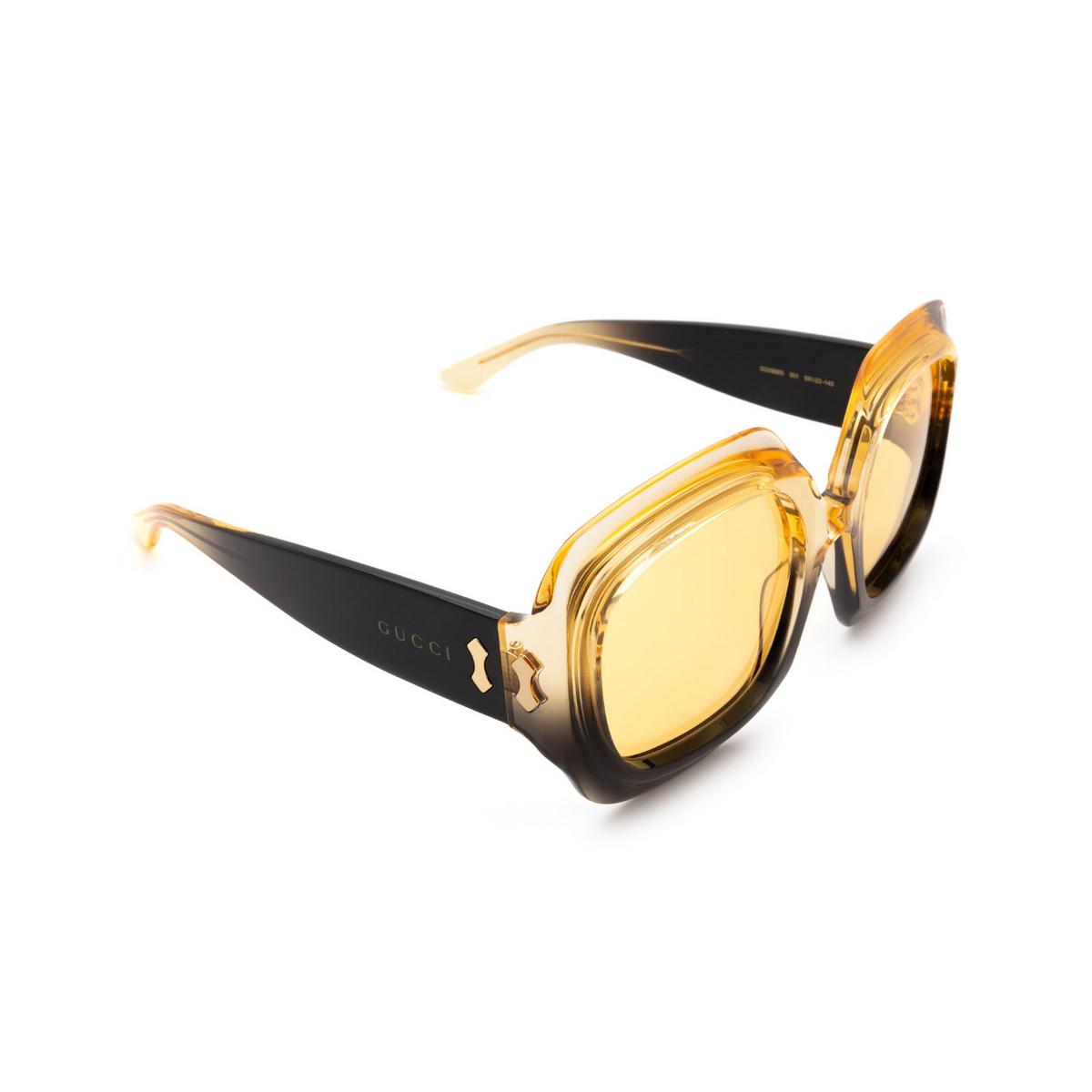 Gucci® Square Sunglasses: GG0988S color Black Gradient Yellow 001.