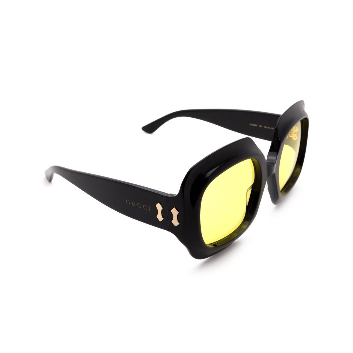 Gucci® Square Sunglasses: GG0988S color Black 003.