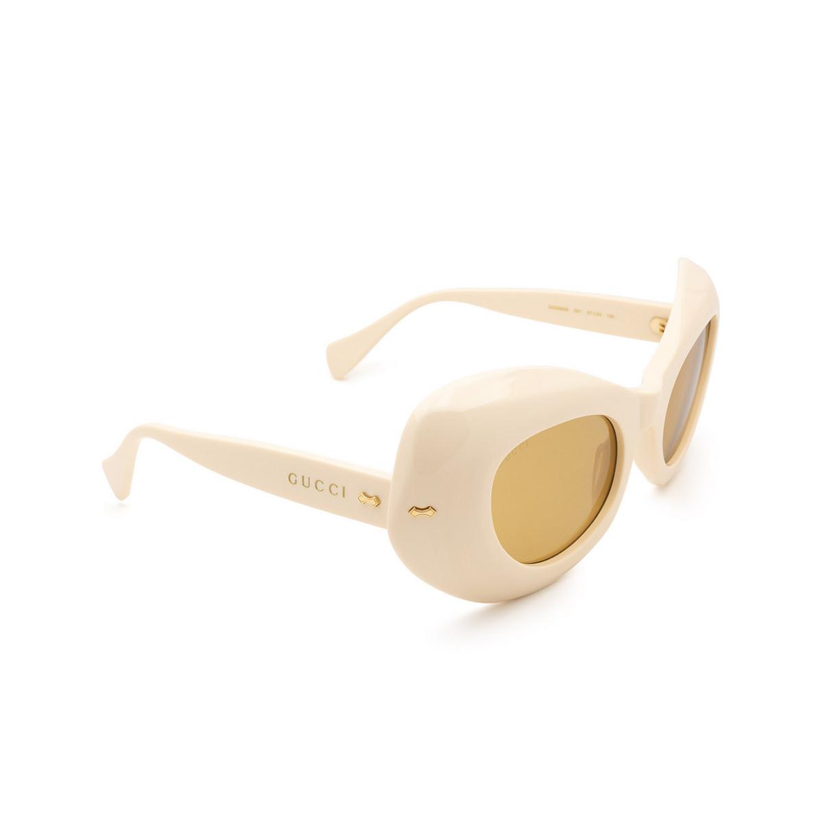 Gucci® Oval Sunglasses: GG0990S color White 001 - three-quarters view.